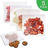 APERIL Wiederverwendbare Aufbewahrungsbeutel - 5er-Pack extra Dicker Sandwichbeutel mit Reißverschluss zur Aufbewahrung von Lebensmitteln für die Organisation zu Hause
