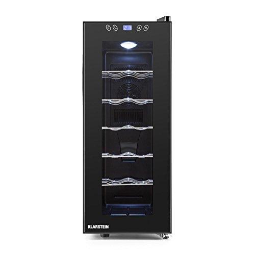Klarstein Vinamora Gastro Line Weinkühlschrank Getränkekühlschrank Gastro-Kühlschrank (35 Liter, 12 Flaschen, 5 Edelstahlschubladen, LED, sehr leise, Display, Touch) schwarz