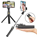 Soft Digits Bluetooth Selfie Stick Stativ, 3 in 1 Erweiterbar Monopod Wireless Selfie-Stange Stab 360°Rotation mit Bluetooth-Fernauslöse für iPhone Android Samsung