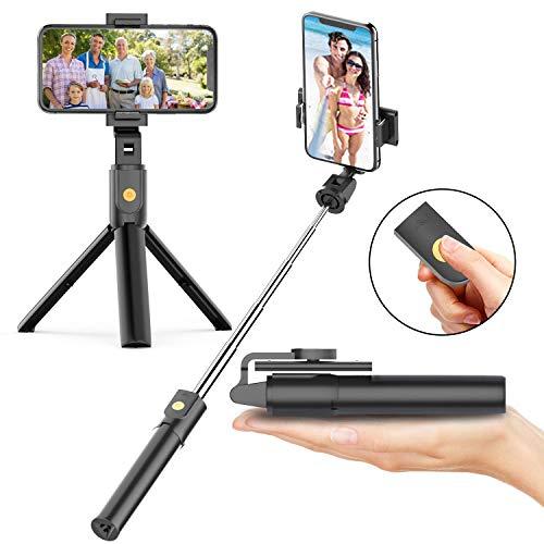 Soft Digits Bluetooth Selfie Stick Stativ, 3 in 1 Erweiterbar Monopod Wireless Selfie-Stange Stab 360°Rotation mit Bluetooth-Fernauslöse für iPhone Android Samsung