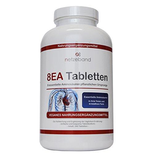 Netzeband 8EA - 8 essentielle Aminosäuren 240 vegane Tabletten im optimalen Verhältnis L-Leucin, L-Valin, L-Isoleucin, L-Phenylalanin, L-Lysin, L-Threonin, L-Methionin und L-Tryptophan