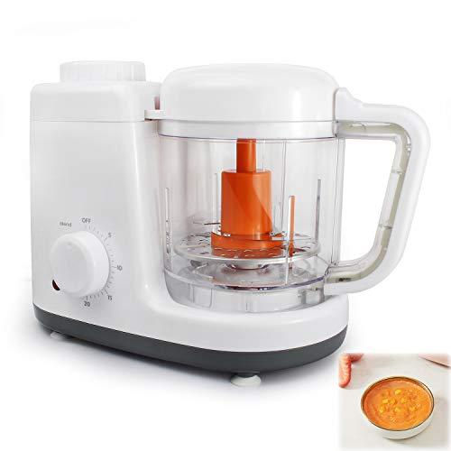 Sotech Baby Menu 2 in 1 Küchenmaschine, Babynahrungszubereiter mit 500 ml Fassungsvolumen BPA-frei, Dampfgaren und Mixen, Orange