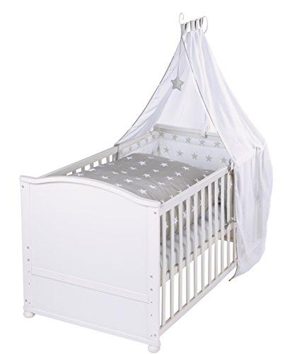 roba 203007WEV190 Komplettbett Set 'Little Stars', Babybett weiß inkl.  Himmel, Nest, Matratze, Kombi Kinderbett 70 x 140 cm umbaubar zum Junior Bett
