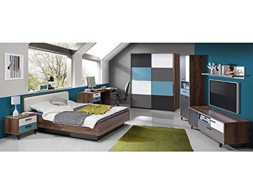Jugendzimmer Raven Komplett verschiedene Ausführungen Kinderzimmer Möbel (Zimmer Raven 7 tlg 140er Bett, Schwebetürenschrank)