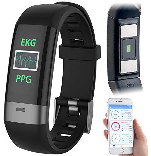 newgen medicals Blutdruckuhr: Fitness-Armband, Blutdruck-/Herzfrequenz-/EKG-Anzeige, Bluetooth, App (EKG Uhr)