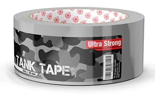 Panzertape Tank Tape 2.0 - Gewebeklebeband 50 Meter * 50 mm, ultrastark & witterungsbeständig Panzerklebeband Reperaturband Gewebeband Duct Tape silber (Panzertape)