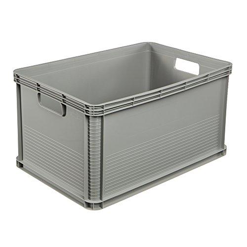keeeper Stabile Transportbox, Säurebeständig und Lebensmittelecht, 60 x 40 x 32 cm, 64 l, Robert, Hellgrau