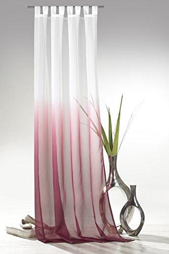 heimtexland  Schlaufenschal mit Farbverlauf in Beere HxB 245x135 cm Voile transparent - ÖKOTEX geprüft - Gardine Vorhang Dekoschal pink Typ501