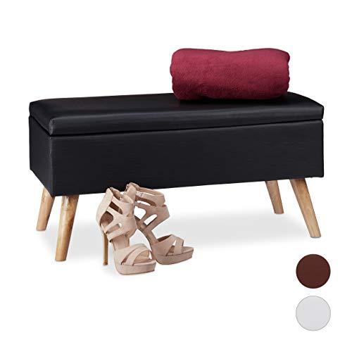 Relaxdays Sitzbank mit Stauraum, 40 L, gepolstert, Holzbeine, Truhenbank Kunstleder, HxBxT: 40 x 80 x 39,5 cm, schwarz, Größe