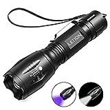 LETION 2 in 1 UV Lampe, Schwarzlicht und Weißes Licht Taschenlampe,395nm Ultraviolette Taschenlampe 4 Modi, Detektor für unechte Banknoten, Urin von Hunde, und andere Haustiere Taschenlampenzubehör
