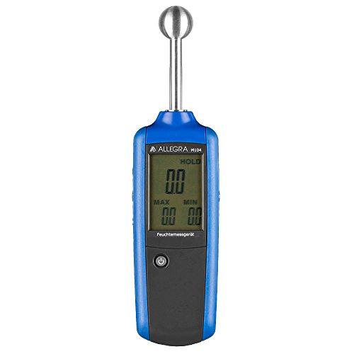 ALLEGRA M104 Profi Holz Feuchtemesser Feuchtigkeitsmesser Feuchtemessgerät für die Wand Feuchtigkeitsmessgerät Holzfeuchtemessgerät auch für Estrich und Beton, Baufechte Messgerät
