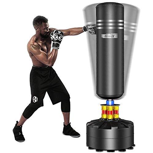 Dripex Boxsack Freistehender Standboxsack für Erwachsene & Kinder MMA Boxpartner Boxing Trainer Heavy Duty Boxsack mit Saugfuß, mehrere Farbe (175cm Schwarz)