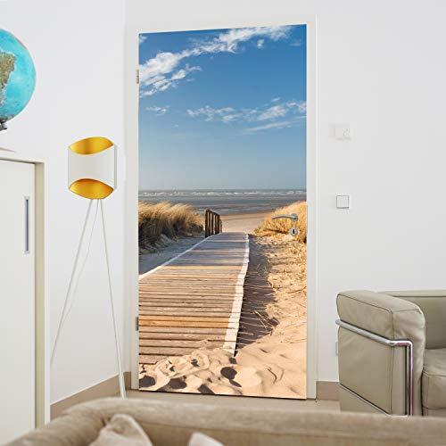 murimage Türtapete Strand Meer 86 x 200 cm Dünen Ostsee Nordsee Weg Steg Fototapete inklusive Kleister