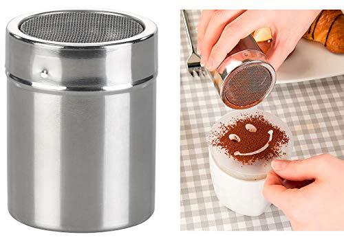 Rosenstein & Söhne Gewürzstreuer Edelstahl: Kakao-Streuer aus Edelstahl mit Deko-Schablonen für Cappuccino & Co. (Gewürz-Streuer mit Deckel)
