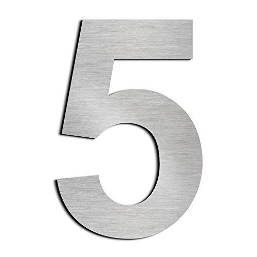 Gebürstetes Haus Nummer 5 Fünf-20.5cm 8.1in-gemacht vom festen Edelstahl 304, sich hin- und herbewegendes Aussehen, einfach anzubringen