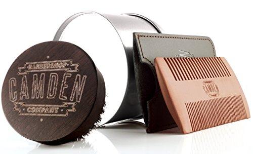 Camden Barbershop Company: Bartbürste & Bartkamm-Set, aus Walnuss- & Birnbaumholz, laser-graviert - für die tägliche Bartpflege & das Auftragen von Bartöl, perfekt als Geschenk