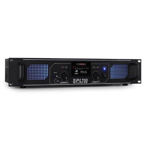 Skytec SPL 700 PA Verstärker Endstufe (2 x 350 Watt, MP3 Player USB/SD/UKW-Radiotuner, Lautsprecherimpedanz: 4-8 Ohm, geeignet zum 19' Rack-Einbau - 2 Höheneinheiten) schwarz