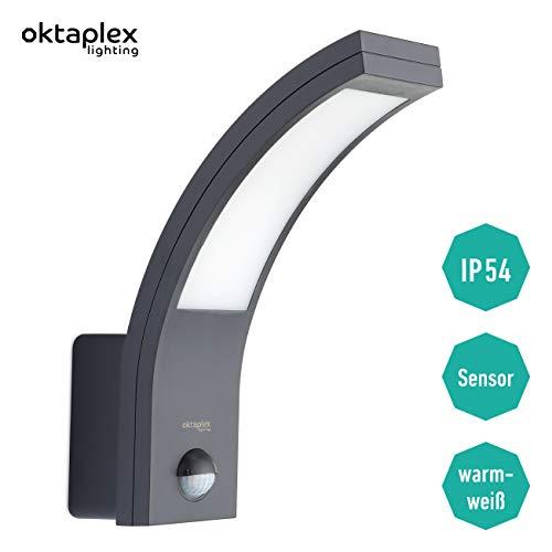 LED Außenleuchte mit Bewegungsmelder Rio 10W | Außenlampe Ip54 anthrazit Wand Außen | Außenwandleuchte Sensor 3000K Warmweiß | Oktaplex Lighting