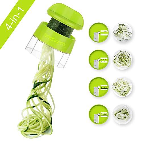 Sedhoom Spiralschneider Hand für Gemüsespaghetti, 4 in 1 Kingen Gemüse Spiralschneider, Gemüsenudeln spiralschneider für Karotte, Gurke, Kartoffel, Kürbis, Zucchini (MEHRWEG)