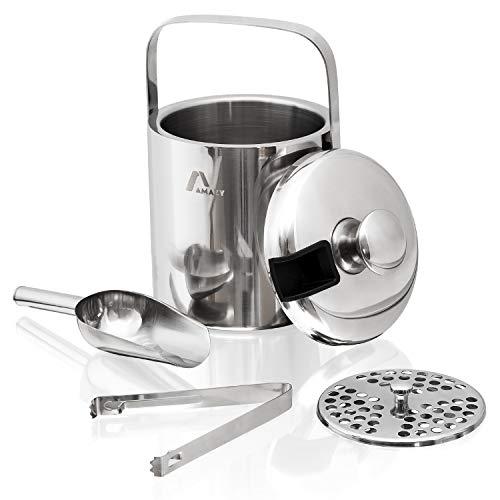 Amazy Edelstahl Eisbehälter mit Deckel inkl. Zange, Eisschaufel und Sieb - Doppelt isolierter Eiswürfelbehälter mit Tragegriff für optimal gekühlte Eiswürfel und Getränke (1,3 Liter)