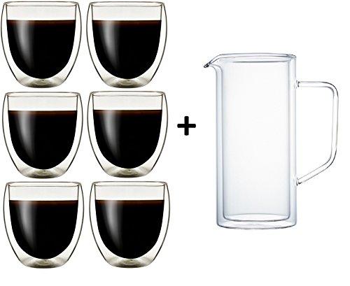 Klasique Doppelwandige Gläser Doppelwandglas 250 ml, Thermoglas mit Schwebeeffekt im 6er Set + Doppelwandiger Krug/Karaffe 1 L, für, Cappucino, Tee, Eistee, Säfte, Wasser, Cola, Cocktails