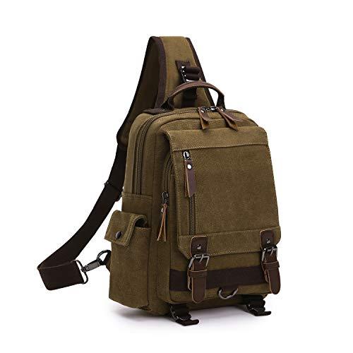 Wind Took Canvas Sling Rucksack Crossbody bag Brusttasche Outdoor Daypack Vintage Schultertasche Unisex Umhängetasche für Herren Damen, Coffee