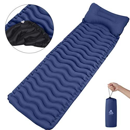 Outivity Camping Isomatte,Ultraleicht Isomatte Aufblasbare Isomatte Luftmatratze Kleines Packmaß Schlafmatte für Camping,Outdoor,Wandern,Strand - Vergrößern Größe (205cm * 65cm * 6cm) (Blau)