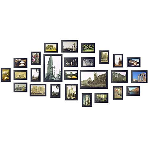 Yorbay Bilderrahmen 26er Set mit 3 häufigsten 1:1 Installationsvorlage 19 STK. 10x15cm, 5 STK. 13x18cm, 2Stk. 20x30cm aus Plexiglas Foto Collage,  aus Holz Fotorahmen und Bildabdeckung, Holz (Schwarz)