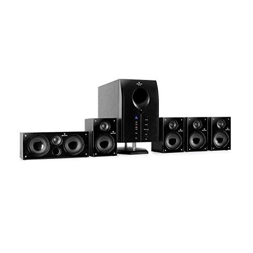 auna Areal 525 BK 5.1 Surround Sound System Heimkinosystem (125 Watt RMS, Aktiv-Mono-Subwoofer, 5,25' Sidefiring-Tieftöner, 5 x Satellitenlautsprecher, Fernbedienung) schwarz