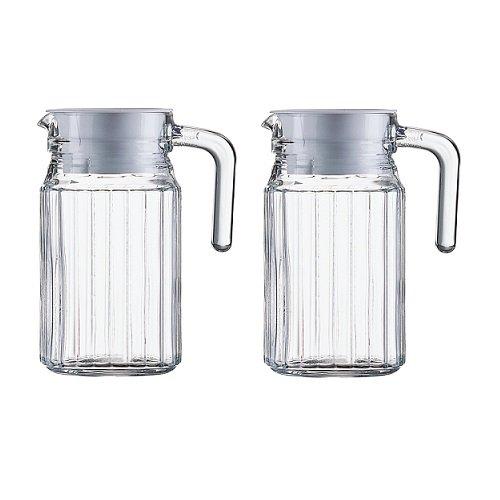2 Glaskannen Glaskrüge Kühlschrankkannen Kühlschrankkrüge je 0,5 Liter aus Glas mit weißem Kunststoffdeckel