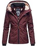 Marikoo Designer Damen Übergangs Jacke leicht gefüttert Kapuze kurz B659 (Gr. M/Gr. 38, Weinrot)