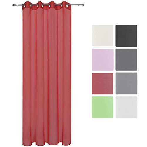 Beautissu Transparenter Ösen-Vorhang Amelie - 140x245 cm Rot Uni - Voile Dekoschal Gardine Ösenschal Fenster-Schal