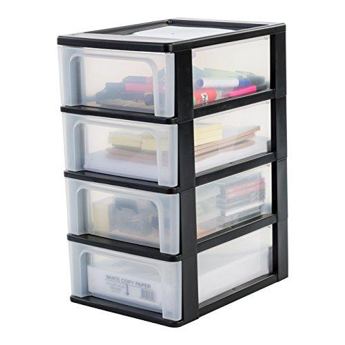 IRIS, Schubladencontainer / Schubladenschrank 'Organizer Chest', OCH-2004, Kunststoff, schwarz / transparent, 35,5 x 26 x 49 cm