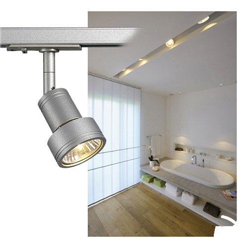 SLV LED Strahler 1-Phasen PURI | Dreh- und schwenkbarer Schienen-Strahler, LED Spot, Deckenstrahler, Deckenleuchte, Schienensystem, Innenbeleuchtung, 3P-Lampe | GU10 QPAR51, silbergrau, max. EEK A-A++