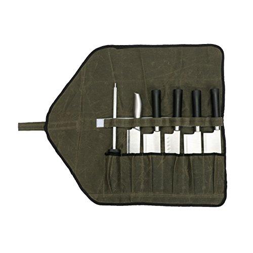 HANSHI Messertasche Rolltasche Handgefertigt Wasserdicht Gewachst Aus Segeltuch Mehrzweck Tasche Notwendige Werkzeugtasche Für neue oder professionelle Köche HGJ17
