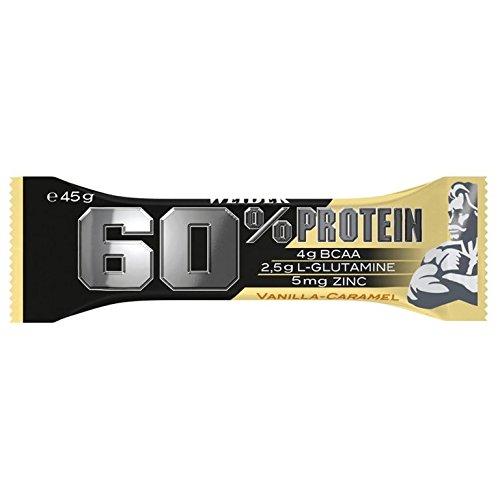 Weider 60% Protein Bar, Vanille-Karamell, 1er Pack (24x 45g Riegel)