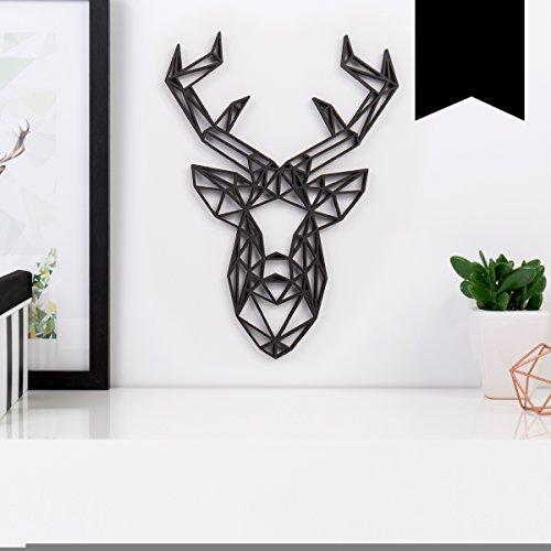 Kleinlaut 3D-Origamis aus Holz - Wähle ein Motiv & Farbe - 'Hirschkopf' - 14,5 x 20 cm (M) - Schwarz