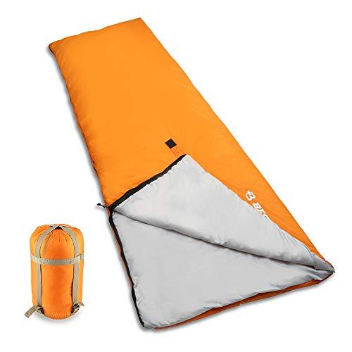 Bessport Schlafsack Ultraleicht 800g für 3 Jahreszeiten, 320T Nylon 100% sprüh gebundene Baumwolle 120g/m² Füllung Deckenschlafsack mit Kompressionsbeutel für Sommer Camping (Orange)