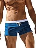 TACVASEN Swimming Shorts for Men Swim Briefs Summer Surf Trunks Quick Dry Beach Box Brief with Pocket Blue