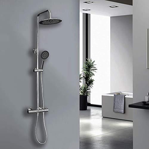 Elbe-Duschsystem mit Thermostat, Duschsäule mit 25 cm Edelstahlduschkopf für Regenwirkung, Duschset aus verchromtem Wasserhahn mit Handdusche und Duschset, 75-119 cm verstellbare Duschstange
