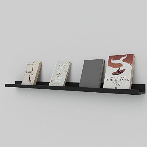 Athomestore Wandregal Bücherregal Schweberegale Dekorative Dekoregal Hängeregal Küchenregal an der Wand Montiert Eisen Holzmaterial Display-Verschiedenes-Regal Lagerregal, 3 Fächer, Schwarz