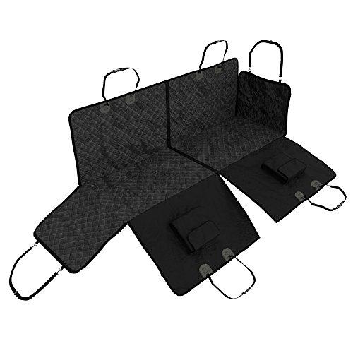 Hunde Autoschondecke für Rückbank mit Seitenschutz + 2 Taschen | Teilbare Hundedecke, wasserdicht, waschbar | Weiche rutschfeste Schutzdecke + Gurtöffnung | Sicherer Auto Sitzschutz + Transportbeutel