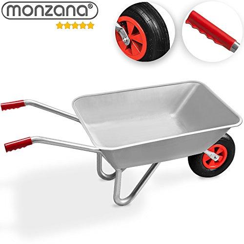 Monzana Schubkarre 80L Bauschubkarre bis 200kg Gartenkarre  200kg Belastbarkeit  verzinkter Stahlrohrrahmen