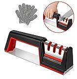 Messerschärfer Messerschleifer, Sylanda 3 Stufen Messer Schärfen Schärfwerkzeug Knife Sharpener Enorm Effektiv für Edelstahl und Keramikmesser aller Größen mit Schnittschutzhandschuhe, Rutschfestem