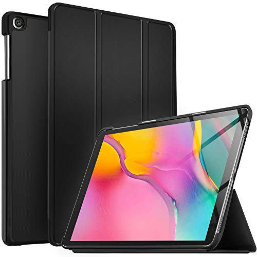 IVSO Hülle für Samsung Galaxy Tab A T515/T510 10.1 2019, Ultra Schlank Slim Schutzhülle Hochwertiges PU mit Standfunktion Perfekt Geeignet für Samsung Galaxy Tab A 2019 T515/T510 10.1 Zoll, Schwarz