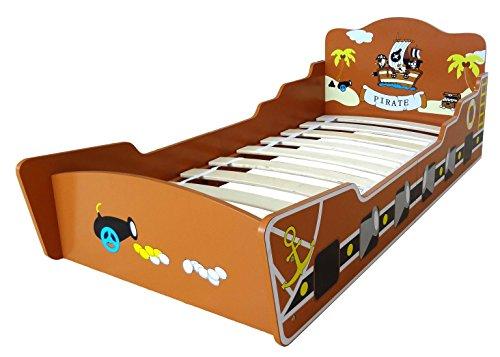 Kiddi Style Piratenschiff Bett & Piratenbett – Piraten Kinderbett Schiff, Jugendbett & Spielbett für Jungen – 140 cm x 70 cm