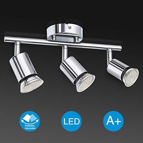 Elfeland LED Deckenleuchte Schwenkbar inkl. 3 x GU10 Fassungen Deckenstrahler Deckenlampe LED Strahler Deckenspot Wohnzimmerleuchte Spotleuchte Spotbalken Spots (ohne Lichtquelle)