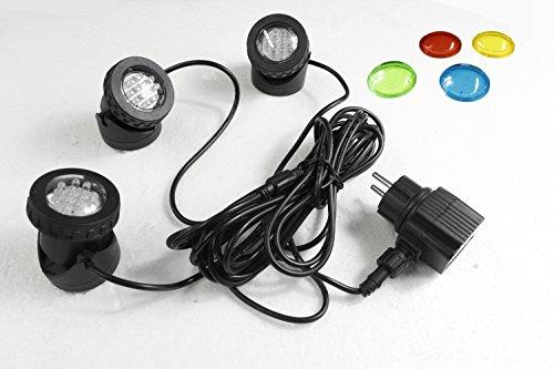 Teichbeleuchtung 3er Set LED Springbrunnenbeleuchtung Gartenstrahler Wasserdicht Unterwasserstrahler