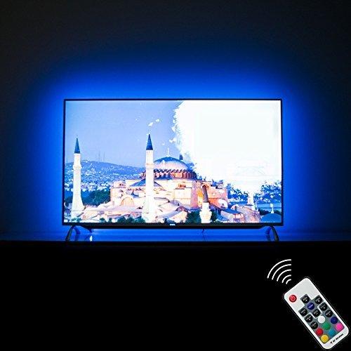 LED TV Hintergrundbeleuchtung Fernseher 65 Zoll TV LED Streifen USB TV Backlight (60 Bis 65 Zoll, 20 Farben, RF Remote, 4m)