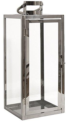 Dekovita Gartenlaterne 41cm Edelstahl-Laterne mit Rundem Henkel Deko Kerzenhalter Windlicht hitzebeständiges Temperglas